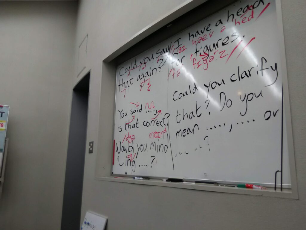 A whiteboard with several clarification questions written on it.