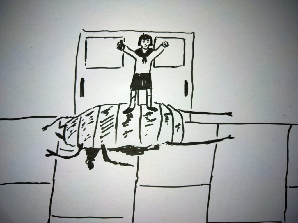 Ink drawing of a schoolgirl standing on a dead woodlouse monster.